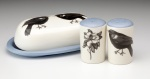 Butter dish with Black bird S&P magnolia and blackbird