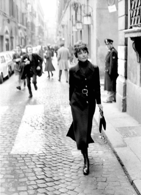 HIGHER FEES APPLY. Audrey Hepburn in Rome in 1970.